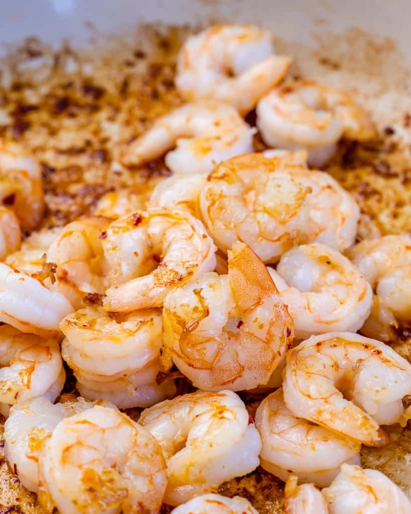 sauteed shrimp in a pan