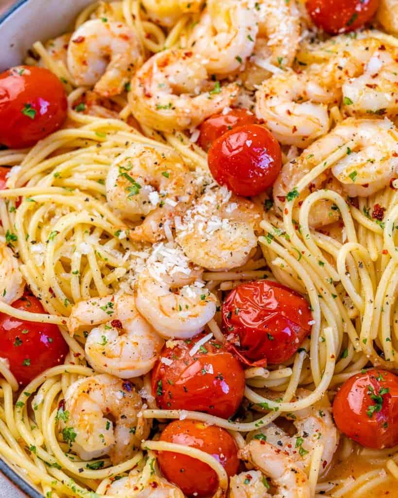 close up view of shrimp pasta