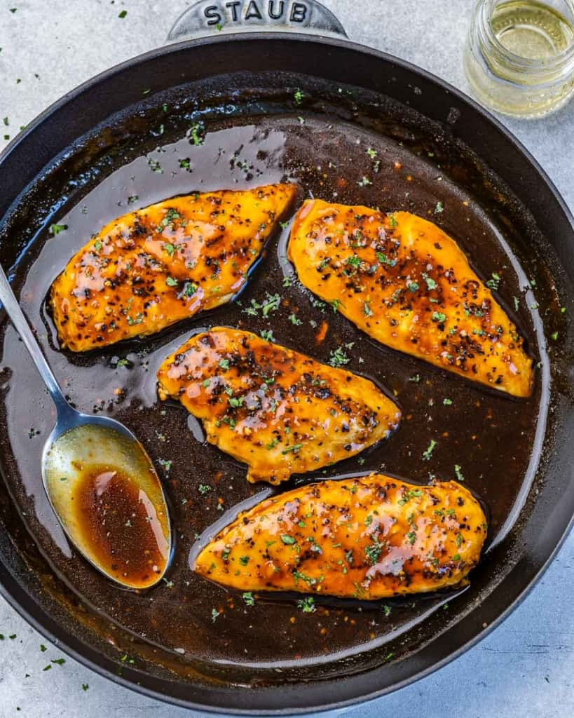 top view chicken breast in a honey garlic sauce