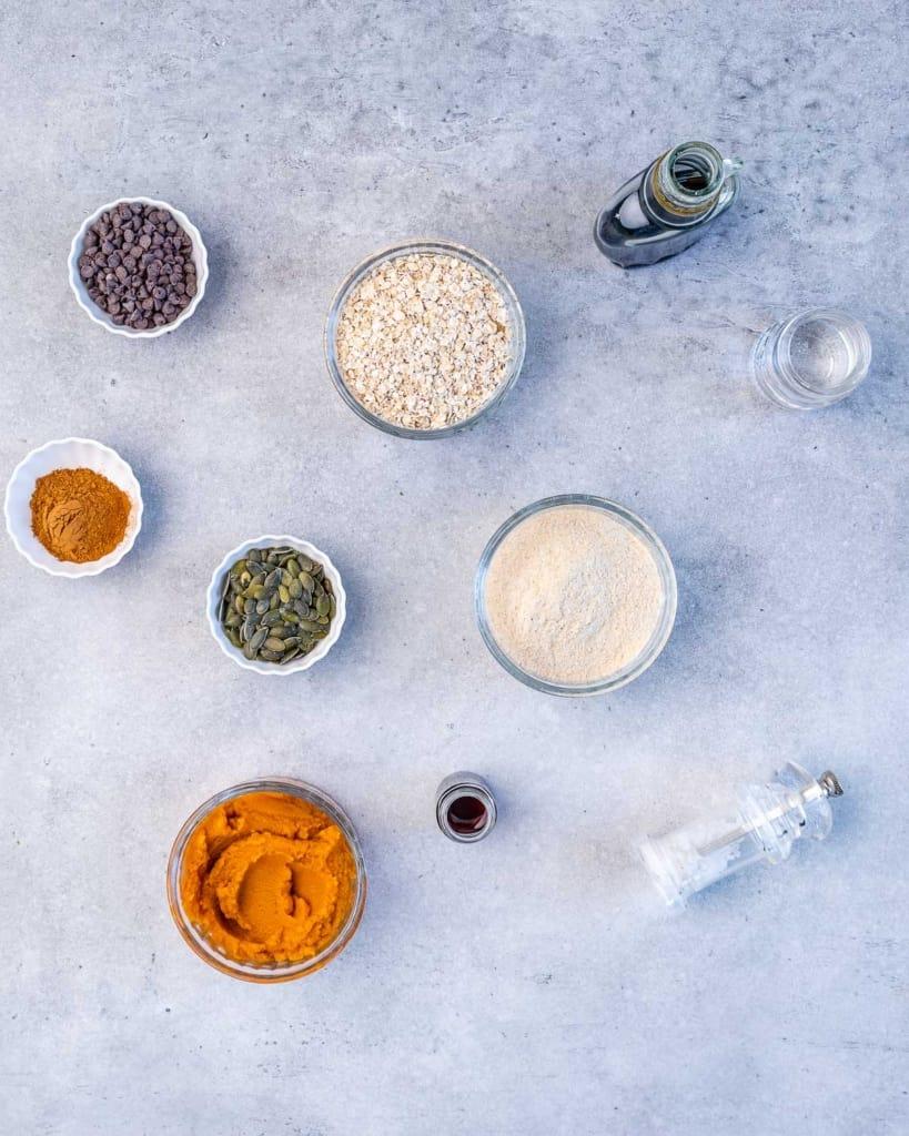 ingredients to make pumpkin oatmeal cookies