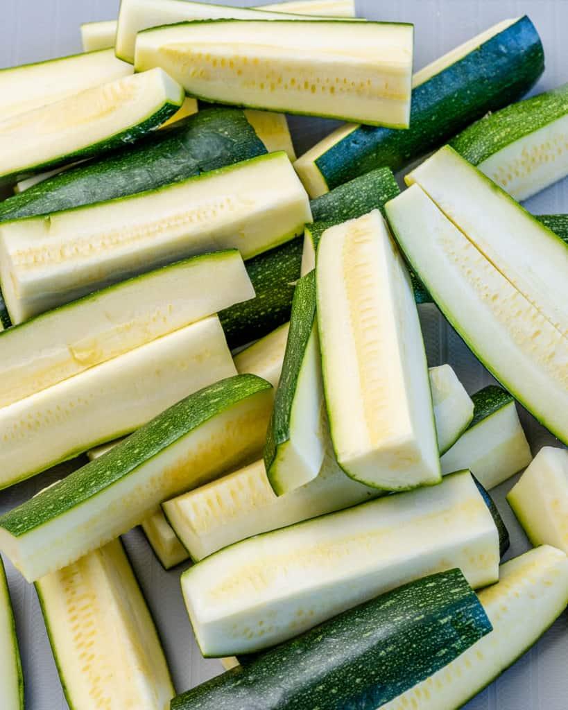 zucchini cut into fries